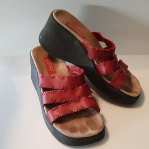 Esprit Womens Red Leather Sandals